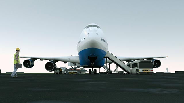 Aircraft on apron